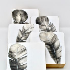 feathers printed on wooden base