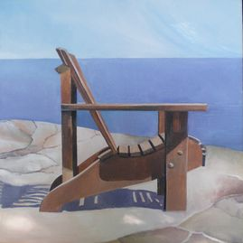 "Summer Chair, Facing South, oil on canvas, 20"" x 20"", $500"