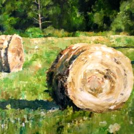 "Hay Bales, oil on canvas, 28"" x 40"", $1500"