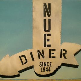 "Nue Diner, oil on wood panel, 14"" x 18"", $300"