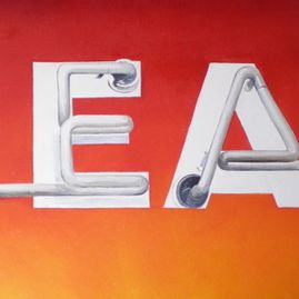 "HEAT, oil on canvas (framed), 18"" x 36"", $950"
