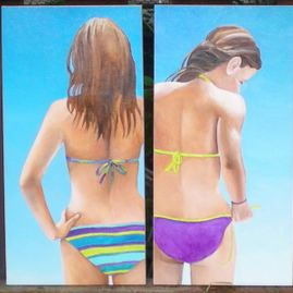"Summer Girls, oil on canvas, 24"" x 12"" (each), $450 each"